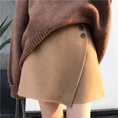 显瘦显腿长手工双面羊毛呢子短裙
