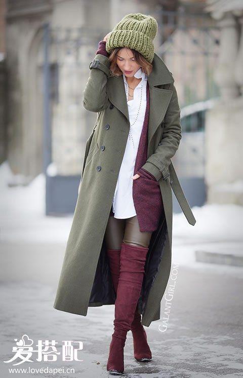 冬季彩色大衣搭配